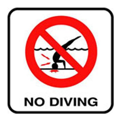 6IN VINYL STICKON NO DIVING SYMBOL MG SERIES INLAYS INFO  V621500