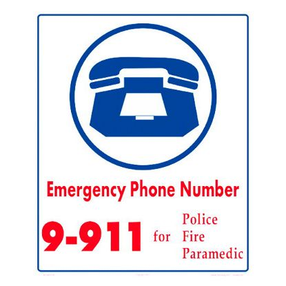 EMERGENCY DIAL 9-911 6011WS1012E