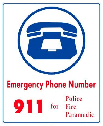 EMERGENCY NUMBERS SIGN 6010WS1012E