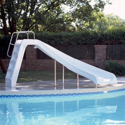 WHITE WATER POOL SLIDE RIGHT WHITE 4' HIGH INTERFAB WWS-CR-SS